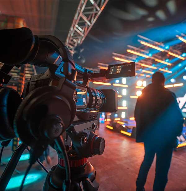 Camera on studio set